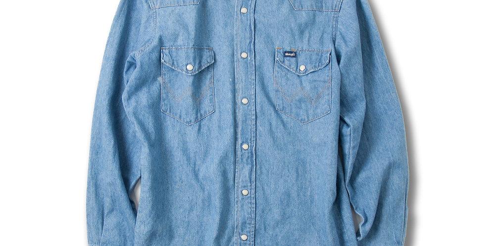 【15 1/2 - 33】 1990年代 アメリカ製 Wrangler デニムウエスタンシャツ