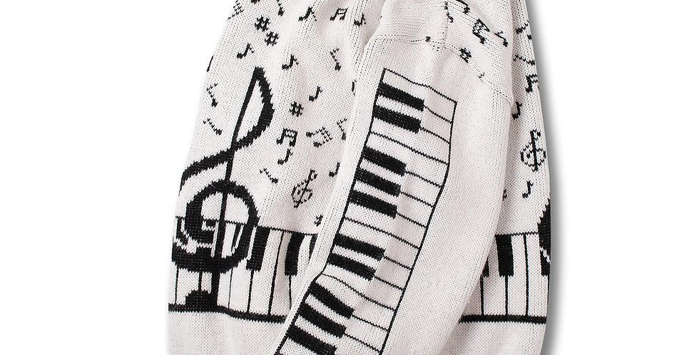 1990年代 MUSIC TREASURES ジャガードセーター 鍵盤音符柄