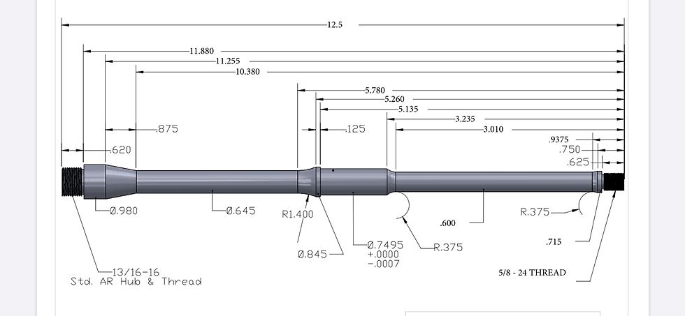 "BBR68 12.5"" 6.8 SPC II Stainless Barrel"