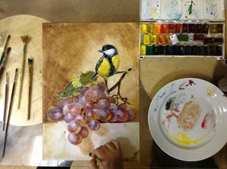 Синичка с виноградом