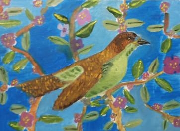 Птичка на голубом фоне