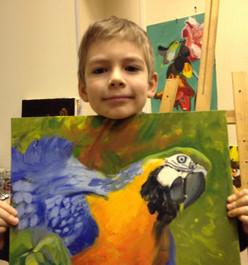 Мальчик с попугаем