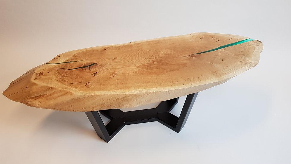 Ovale salontafel met stalen onderstel