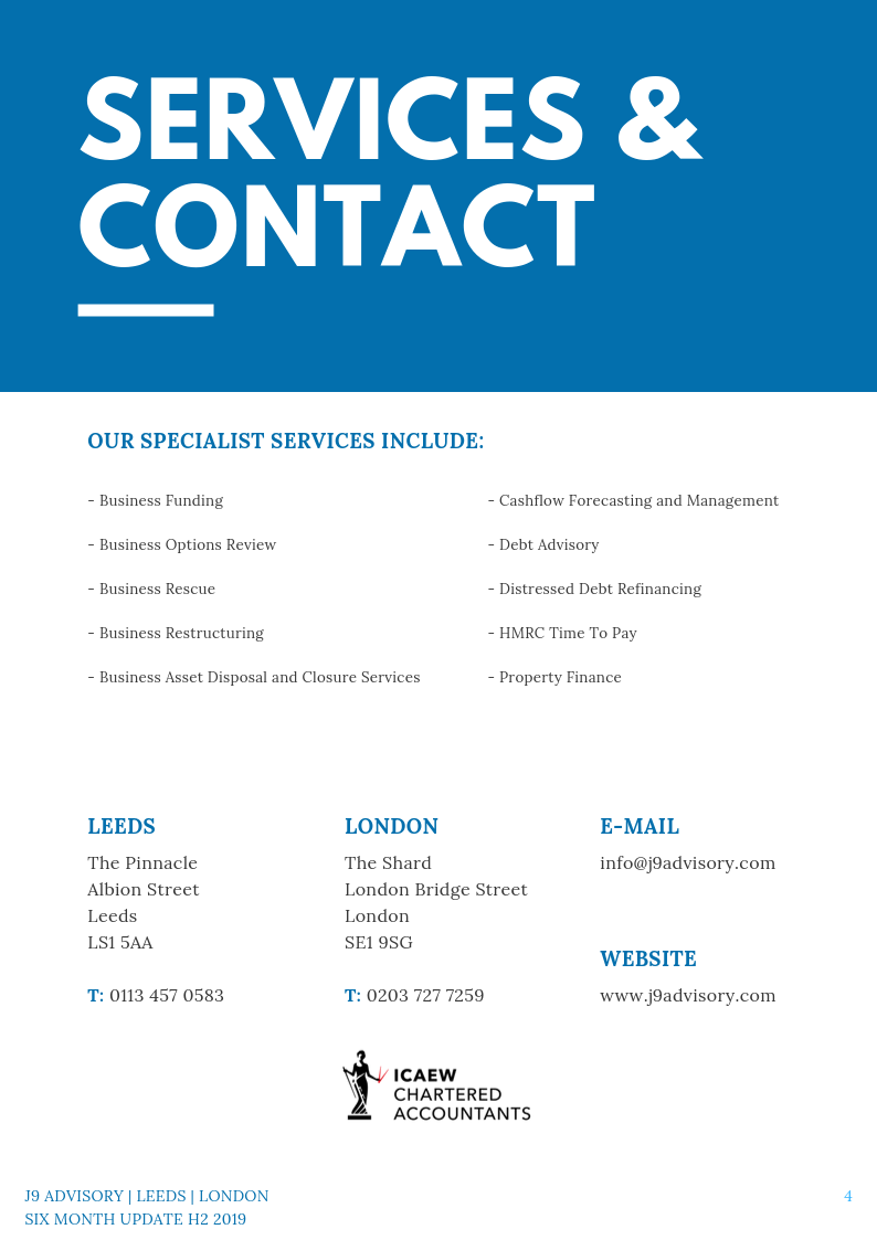 Six Month Update - H2 2019 services and contact