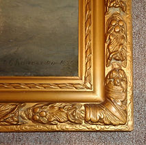 close up of repaired antique frame