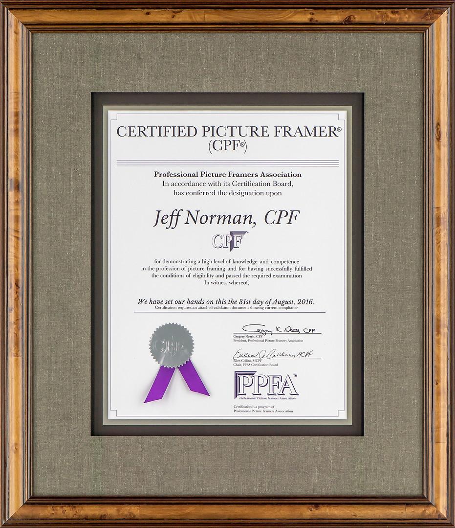 Certified Picture Framer (CPF) Certificate