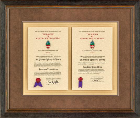 Certificates on fabric mat