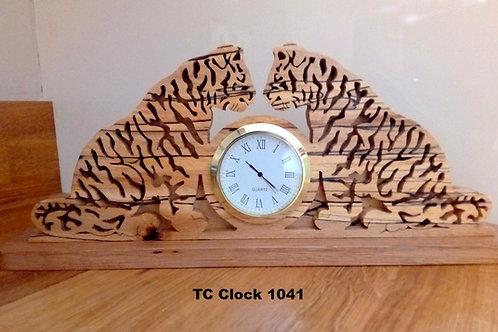 Ttwo Tigers Clock  splalted beech