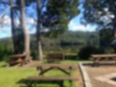Tullah Lakeside Lodge Seating looking over Lake Rosebery, Tasmania.