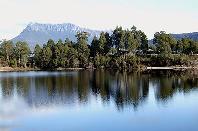 Views of Tullah Lakeside Lodge from Lake Rosebery