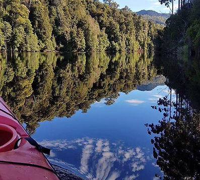 Kayaking Lake Rosebey on Tasmania's West Coast from Tullah Lakeside Lodge