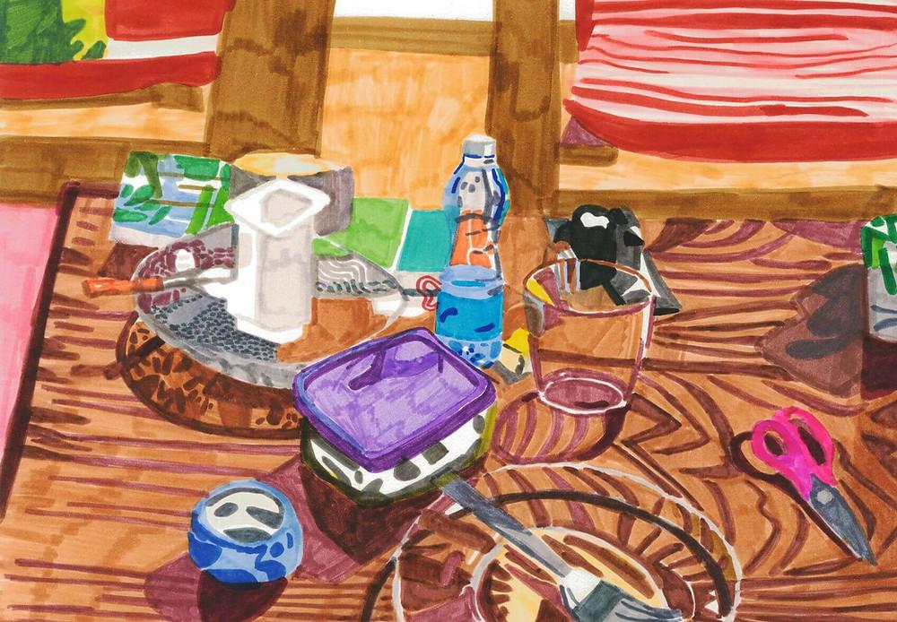 הילה שפיצר, כלים על השולחן