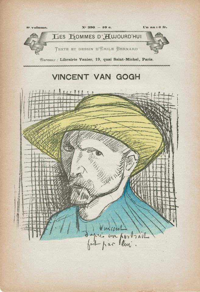Emile Bernard's drawing for the cover of Les Hommes d'Aujourd'hui (Men of Today) in 1891, the year after Van Gogh's death Photo by Martin Bailey