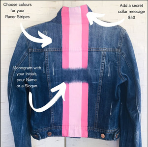 Racer Back Hand Painted denim jacket  $180