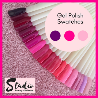 beauty salon gel polish swatches pink