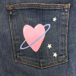 Spaced Heart Pocket  $65NZD
