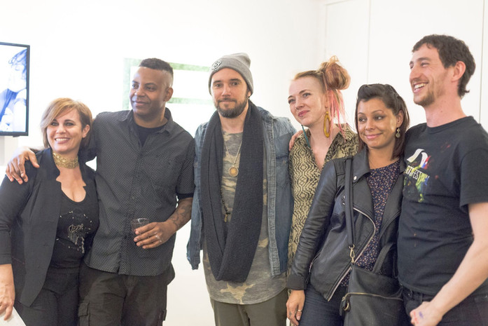 Curators, artists and producers Stephanie Calla, Lance Johnson, JT Liss, Freda Knowles, Meghan Stabile, and Neal Ludevig (left to right)