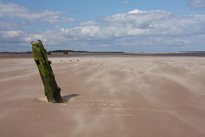 English: Post in the sand, Brancaster This sin...