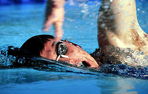 A swimmer swimming