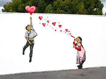 A stencil painted on Valentines day depicting ...