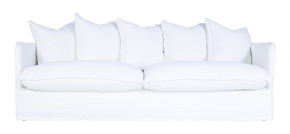 White 3 Seater Linen Sofa