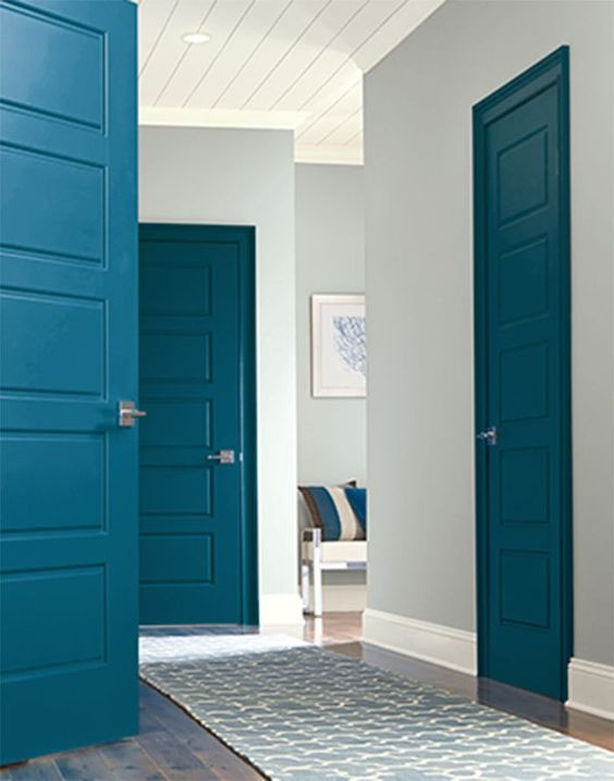 Blue internal doors