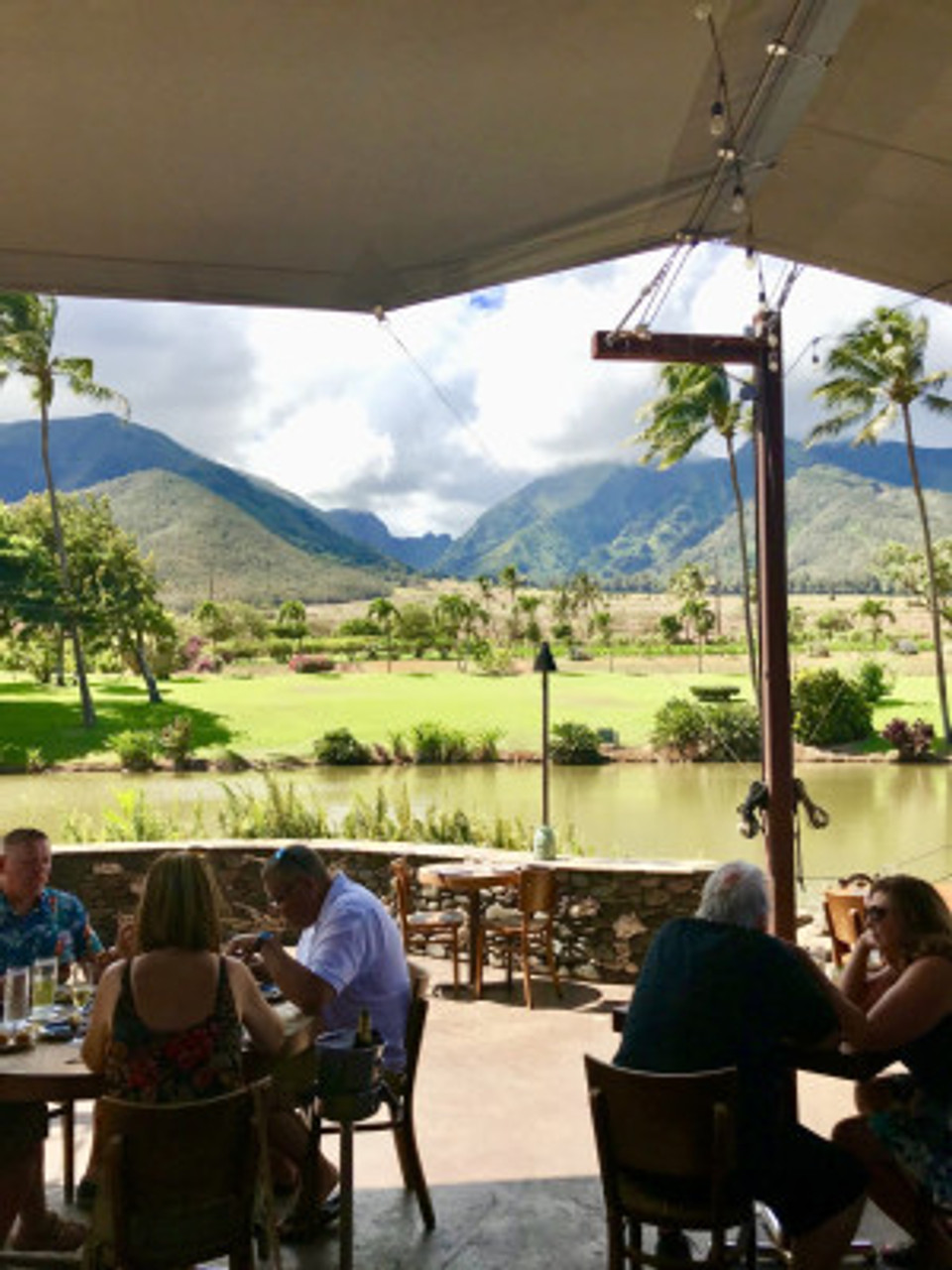 Restaurant view of stunning mountain landscape in Maui.