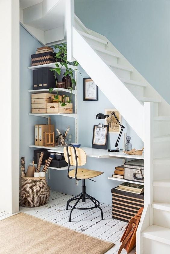 Home work space under the stairs