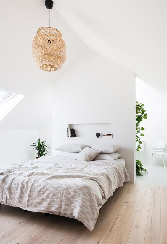 Bedroom with wide timber boards