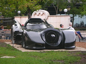 A Batmobile replica on display at Six Flags Gr...