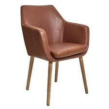 Oak And Pu Leather Tan Darcy chair from Temple and Webster