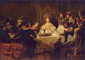 Rembrandt's depiction of Samson's marriage feast