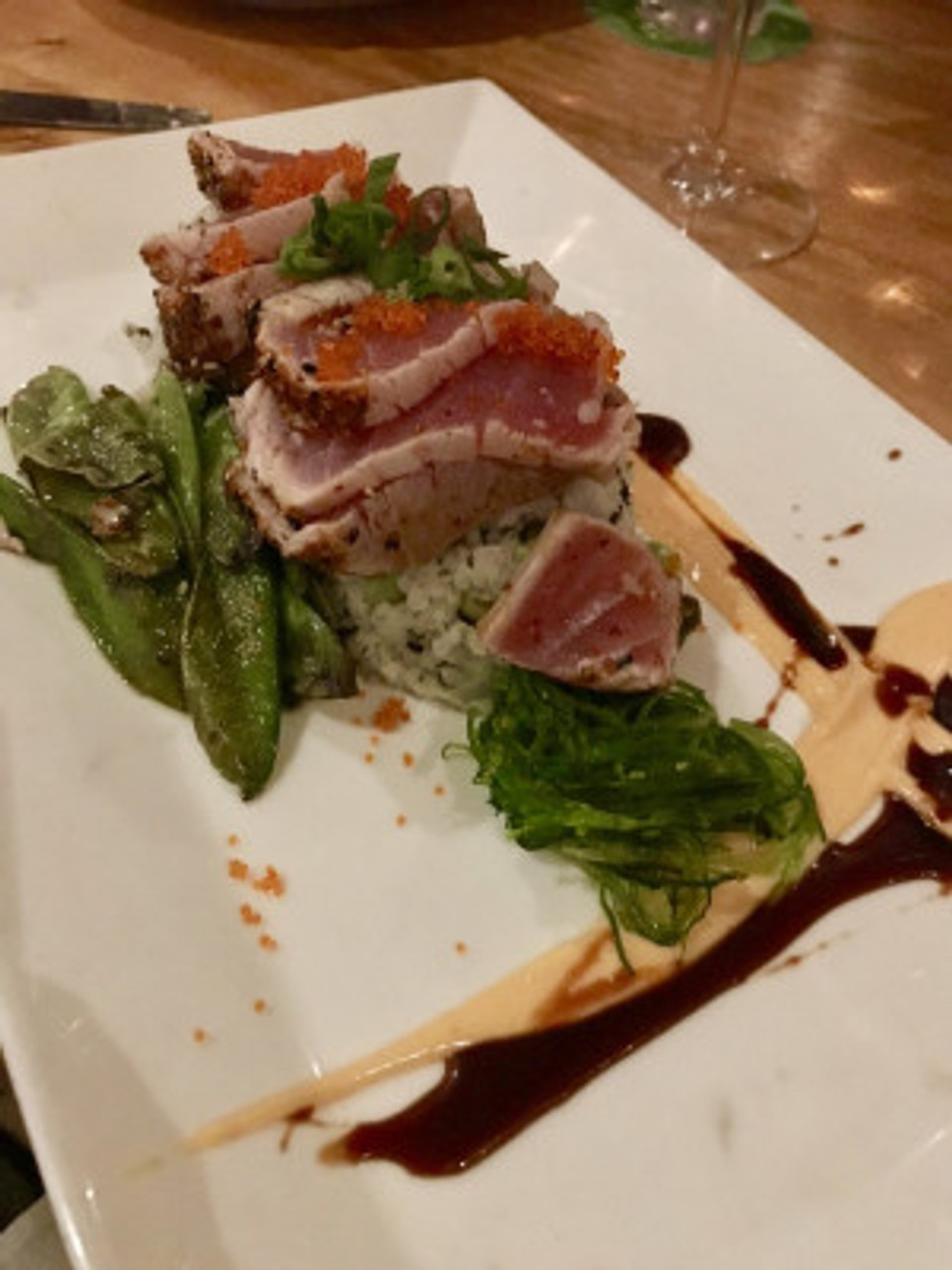 Mouthwatering plate of Tuna Tataki.