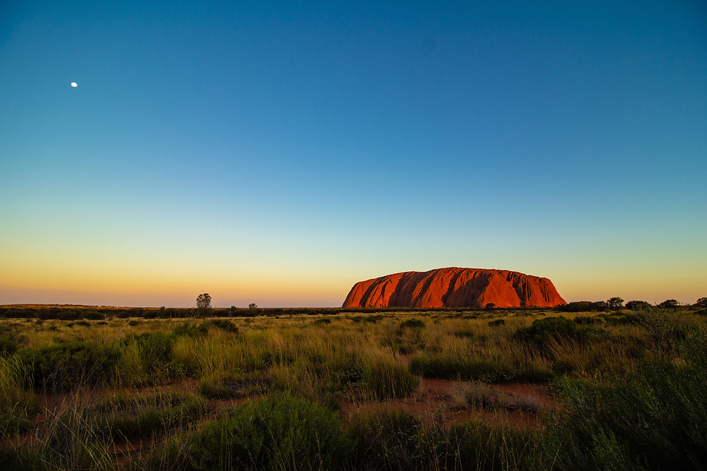 Image of Uluru & Kata Tjura National Park, Australia. Blue sky; red rock.