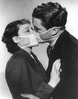 postcard - couple kissing with surgical masks ...