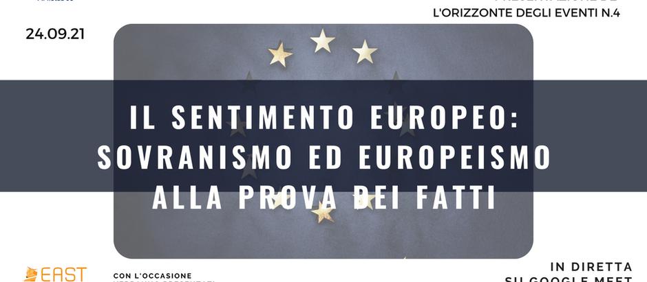 """Webinar """"Il sentimento europeo: sovranismo ed europeismo"""" e progetto europeo EAST, 24 settembre"""