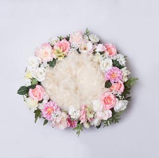 white flower basket