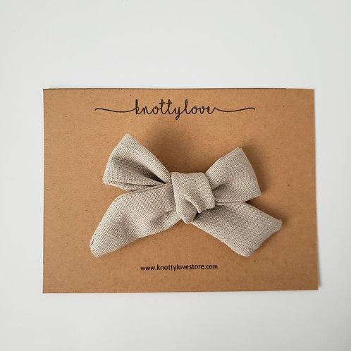 Beige Linen School Girl Bow