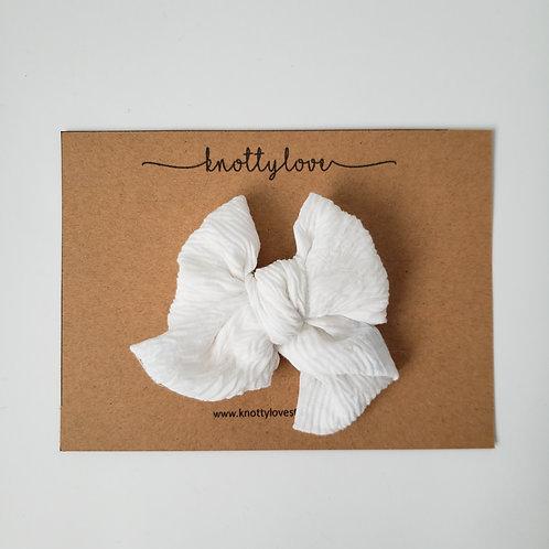 Soft White Pinwheel Bow