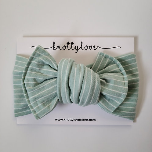 Mint Spring Striped Knotted Headband