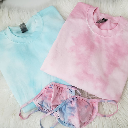 Aquamarine/Petal Pink Tie Dye Crewneck
