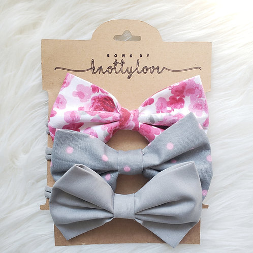 Pink and Grey Bow Set
