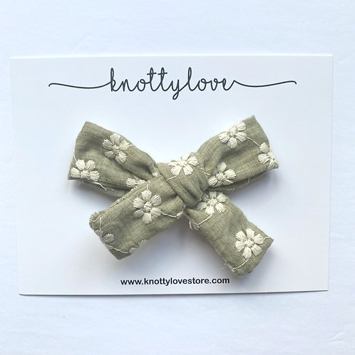 Earthy Floral School Girl Bow