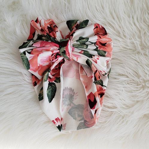 White Floral Big Bow Headwrap