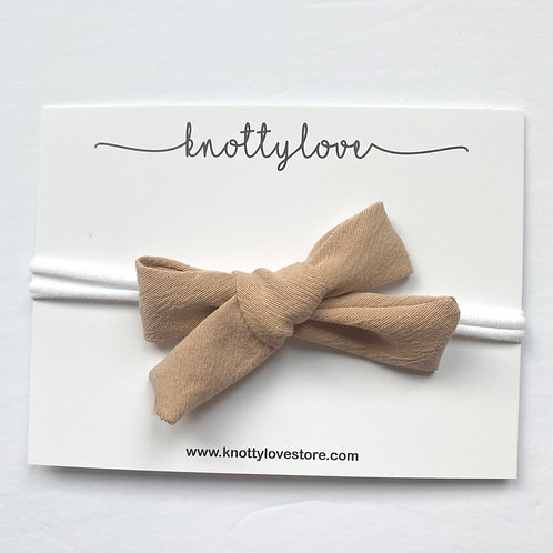 Soft Taupe School Girl Bow