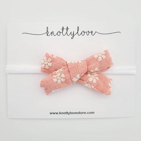Peachy Floral School Girl Bow
