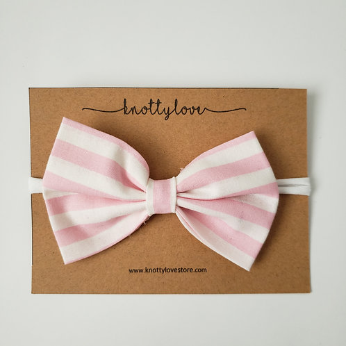 Pink Stripes Classic Bow