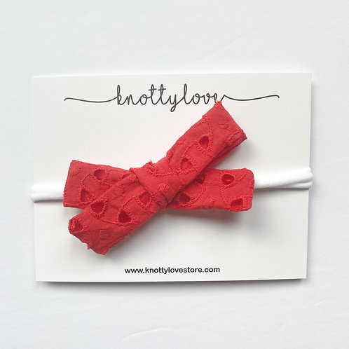 Coral Red Eyelet School Girl Bow