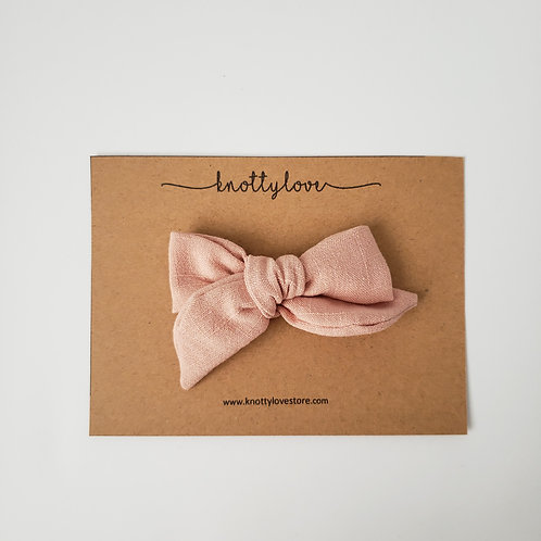 Peach Linen School Girl Bow