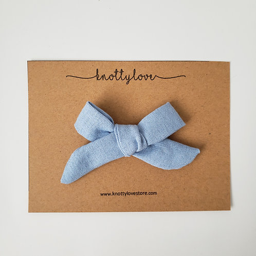 Skyblue Linen School Girl Bow